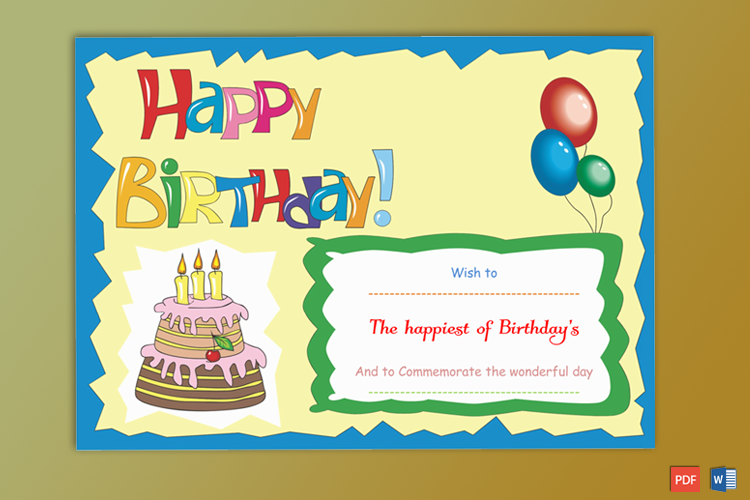 Editable Birthday Gift Certificate