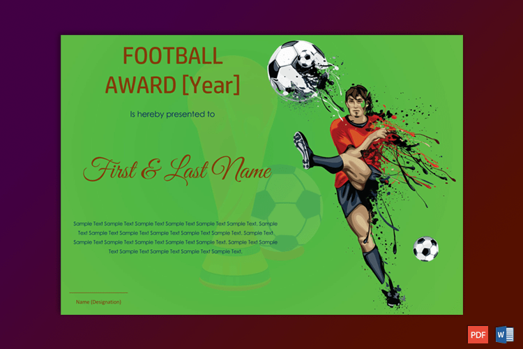 Football Award Certificate Word Pdf Gct