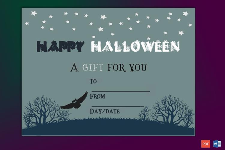 Halloween Gift Certifiate Sample