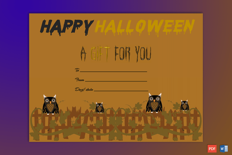 Hollween Gift Certificate Template