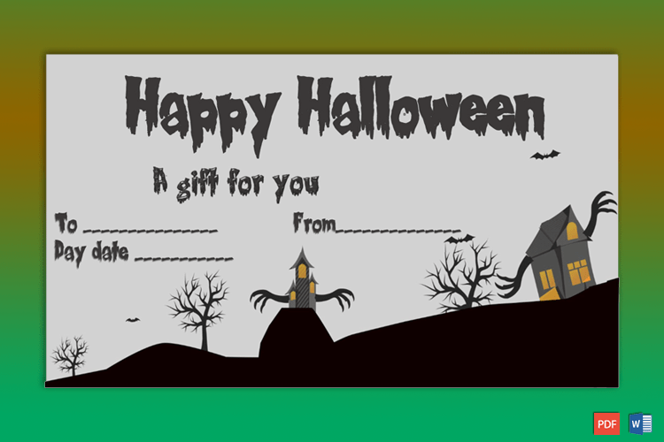 Sample of Halloween Gift Certificate