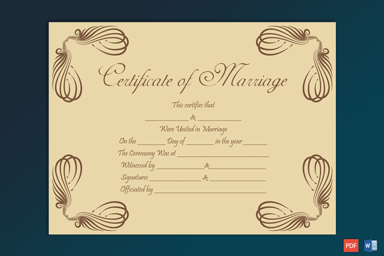 Editable Marriage Certificate Sample