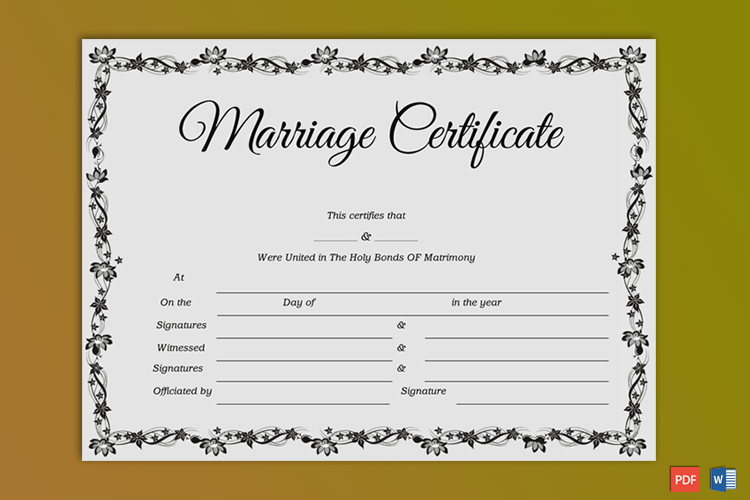 Church Wedding Certificate Template