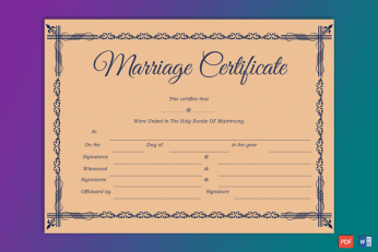 Decorative Marriage Certificate