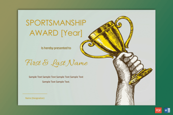 Free Editable Sports Certificate Templates