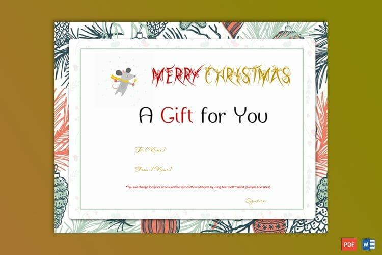 Chrirstmas Gift Certificate Sample