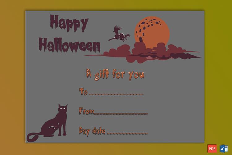 Halloween Gift Certificate Editable