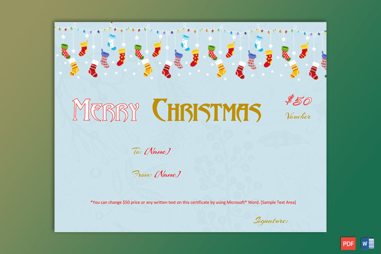 Christmas Gift Certificate Sample