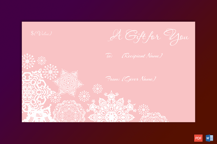 Artistic Flakes Christmas Gift Certificate Template pr