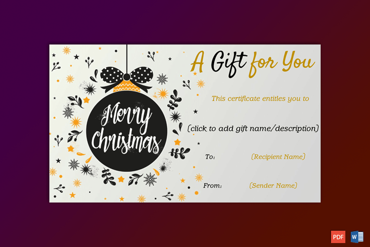 Christmas Gift Certificate (Chic Ornament Design) pr 2