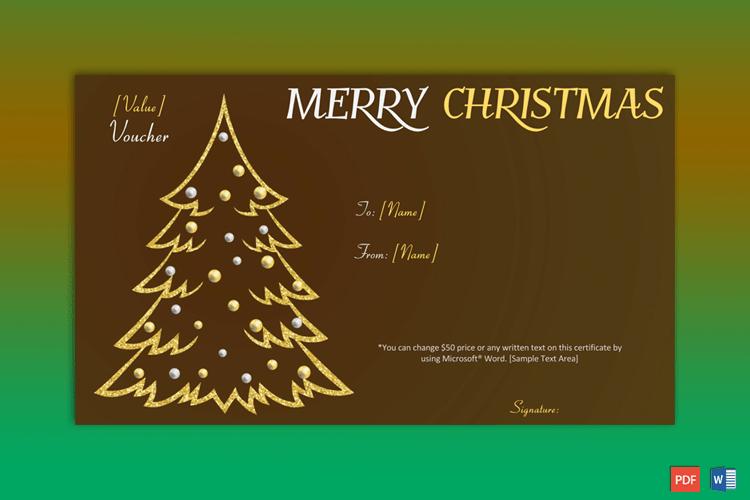 Christmas Gift Certificate (Gold Tree) pr