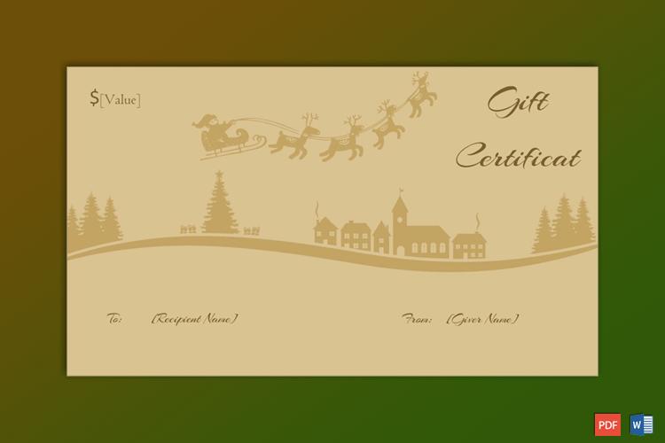Santa Sleigh Ride Christmas Gift Certificate Template